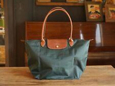 Longchamp New Le Pliage Nylon Tote Handbag Green Large Authentic France