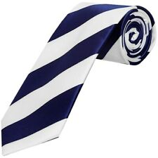 TIES R US Navy Blue and White Striped Hand Made Classic Men's Football Tie