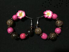 Wood Hoop Earrings embellished with plastic flower/Jewelry Artisan Designed