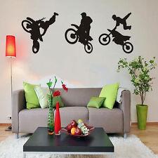 Motorcycle Racer Tricks Dirt Bike Motocross Stunt Wall Decal Removable Vinyl