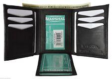 MARSHAL MEN'S GENUINE LEATHER 2 PHOTO HOLDER CREDIT CARD BLACK TRIFOLD WALLET