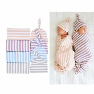 2Pc/set Baby Swaddle Blanket+Cap Cotton Stripe Newborn Cocoon Wrap Swaddling Bag