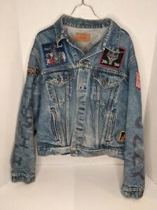 Vintage Levi's Distressed Denim Jacket w/ Heavy Metal Patches Ozzy Size 50R