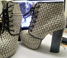 Forever 21 Cream/Black, Woven/Checked high Heel Ankle Platform Boots (M2) EU 37