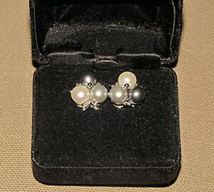 pair 3 color pearl and 14 karat white gold pierced earrings marked