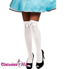Hosiery White thigh high Stockings with Bow Beer Maid German Oktoberfest