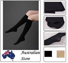 Ladies Women Nylon Elastic Opaque Knee High Stocking Silk Long Socks Black Beige