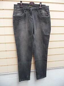 """Bon prix Ladies  Black Jeans Size 16 Rhinestone Detail inside leg 29""""  G014"""