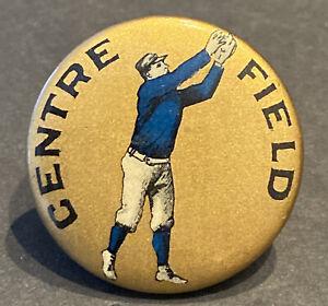 "1890s  BASEBALL 1 1/4""~""CENTRE FIELD"" ~FIGURAL ""BLUE"" PLAYER PIN & PAPER INSERT"