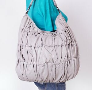 JILL STUART Large Gray  Leather Shoulder Hobo Tote Satchel Purse Bag
