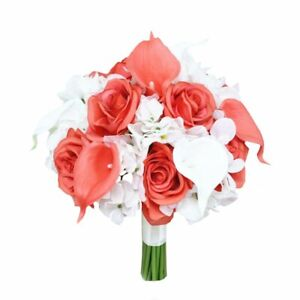 """9"""" Beautiful Hand-Tied Wedding Bouquet - Hydrangea, Calla Lily, Roses Pick Color"""
