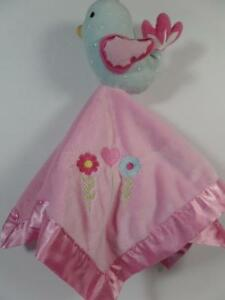 Girl's Circo Pink Mink & Satin Blue Bird Security Blanket w/ Embroidered Flowers