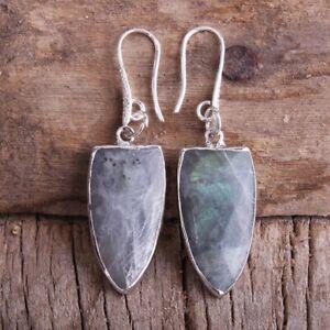Beautiful Natural Grey Jasper Silver Colour Drop Hook Arrowhead Earrings Ethnic