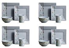 16PC Melamine Dinner Set Dinnerware Square Plates Bowls Mugs Set 4 Place Setting
