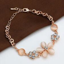 Rose Gold Pink Opal Crystal Rhinestone Flower Charm Lovely Women Bangle Bracelet