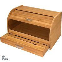 Kitchen Vintage Bamboo Wooden Rolltop Bread Box Honey Can Do Bin Cake Storage