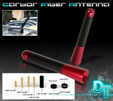 """3"""" Inch Real Carbon Fiber Aluminum Car/Truck Roof Red T Radio Stubby Antenna"""