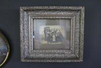 Antique Silver Gesso Framed Photograph of Family Group, Wide Silver Gesso Frame