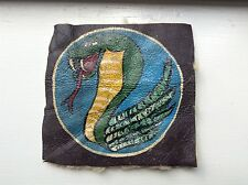 WWII Bomber Jacket /Flight Jacket Orig. Hand Painted Patch (Cobra w/Fangs Out )