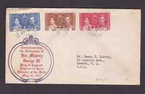 Virgin Islands 1937 FDC 1st day cover to the USA KGVI Coronation #1