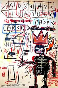 JEAN-MICHEL BASQUIAT Lovely Oil on Canvas Painting Signed & Dated '82. Pop Art