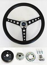 "Bronco F100 F150 F250 F350 Black on Black Steering Wheel 14 1/2"" Ford Cap"