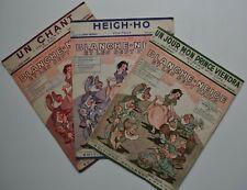 lot 3 partition Blanche neige walt Disney pour orchestre valse fox-trot 1938