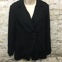 Coldwater Creek Womens Size 10 Black Double Breasted Career Blazer Jacket Z9