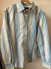 """french connection Size M 40"""" Cotton Blue Stripe Long Sleeve Shirt <T10616"""