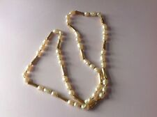 Vintage NAPIER NECKLACE Faux Fresh Water Pearls Gold Tone Barrel Twisted Beads