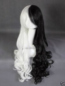 UK Monokuma Long curly heat resistant black and white color mixture cosplay