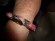 #1125  vtg costume bracelet silver  tone  with bluePINK rocks  stones  6 1/2''