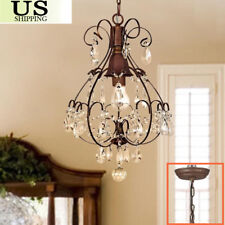 Rustic Crystal Chandelier Vintage Lighting Light Fixture Antique Brushed Oak BP