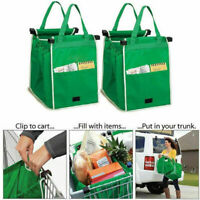 2x Foldable Reusable Supermarket Shopping Trolley Grocery Grab Clips Bag UK