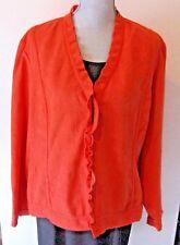 Chico's Womens Blazer Jacket Size 3 (XL) Salmon Orange Single Clasp Ruffle Trim