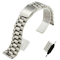 ZLIMSN Pure Solid Stainless Steel Straight End Watch Band Strap 16mm 18mm 20mm