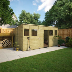 14 x 8 Pent Pressure Treated Wooden Garden Shed With Central Double Door Window