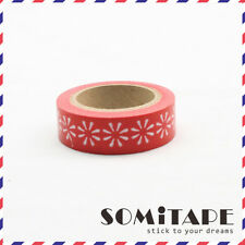 White Flower Red  Washi Tape, Craft Decorative Tape