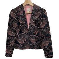Nanette Lepore Womens Fan Embroidery Black Pink Blazer Size 4
