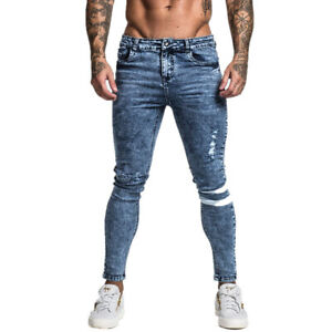 GINGTTO New Men Jeans Classic Skinny DenimRipped Slim Fit Stretch Blue Trousers