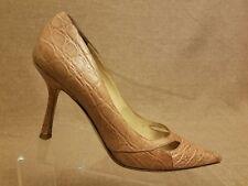 Jimmy Choo Women Shoes Beige Croc Print Pumps Stiletto Pointy Toe Heels Sz 38.5