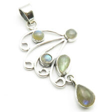 "925 Solid Silver Blue Teardrop, Round LABRADORITE 5 Stone Necklace Pendant 1.9"""