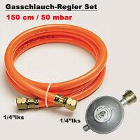 Gasschlauch 150cm Druckminderer 50mbar Regler Gasregler BBQ Gasgrill Druckregler