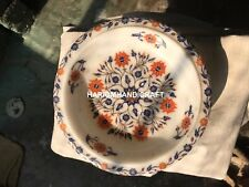 12'' Marble Dry Fruit Bowl Marquetry Lapis With Hakik Floral Inlay Art Gift E397