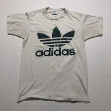 Vintage Adidas Trefoil T-Shirt White Blue Single Stitch Made In USA 1980s Medium
