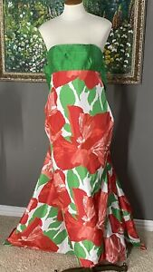 VICTOR COSTA for Neiman Marcus Evening Gown Dress Size 6 Strapless Floral