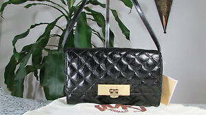 NWT Michael Kors Qulied Leather Susannah Lock Clutch Crossbody Black