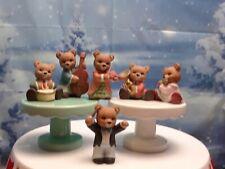 Homco Concert Teddy Bear Musician Instruments Figurines 1422 Flute Drum Violin