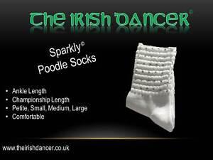 Sparkly White Championship Length Diamonted Poodle Socks - Irish Dancing