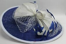 SNOXELL GWYTHER Ladies Large Net Blue Disc Hat Wide Brim Races One Size NEW